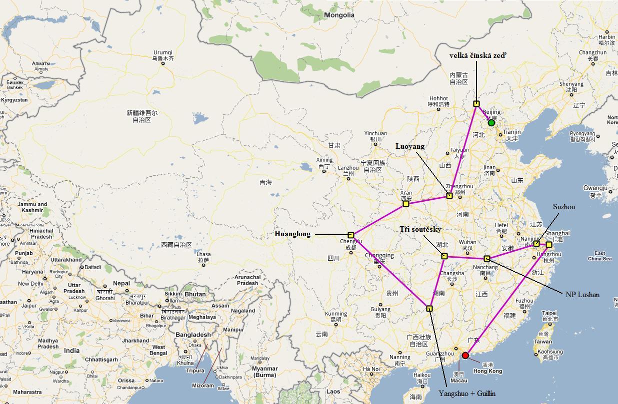Luoyang odtud se dá busem do chrámu šaolinu kung fu